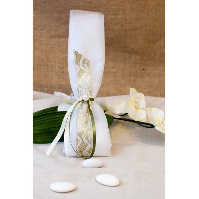 11d266bf332 Μπομπονιέρα Γάμου Τούλι με Σατέν Κορδέλα Δαντέλα και πέρλα